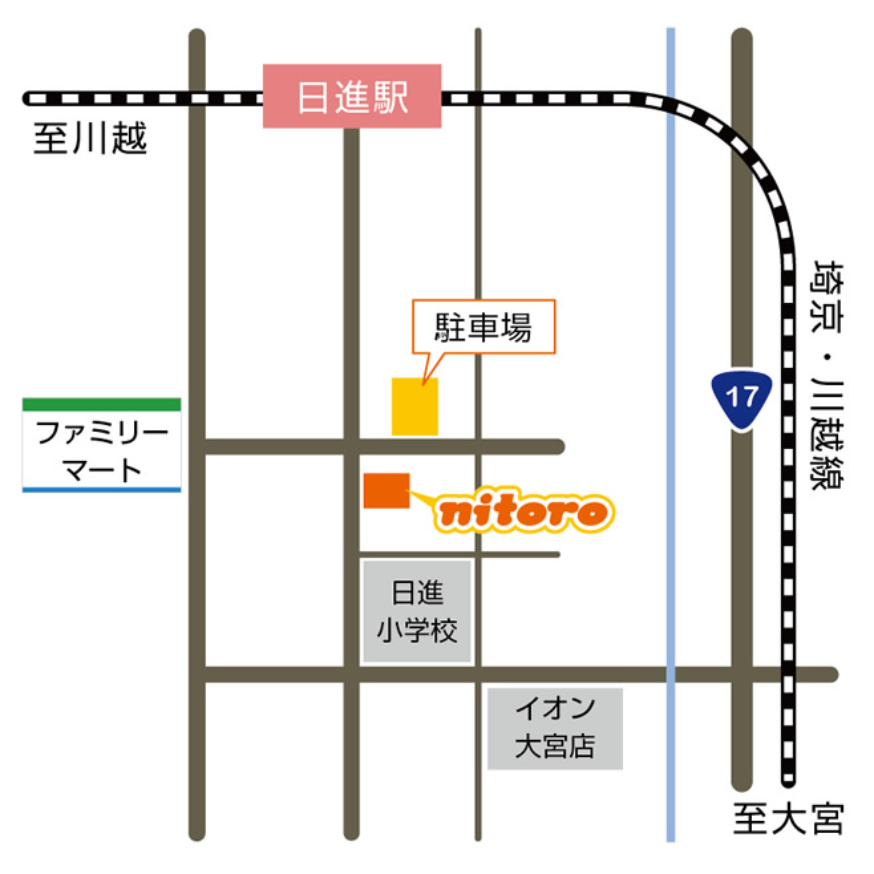 さいたま市北区 日進の美容室・美容院nitoro(ニトロ) アクセスマップ